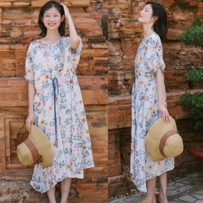 洋裝-純苧麻清新碎花寬鬆長裙-設計所在