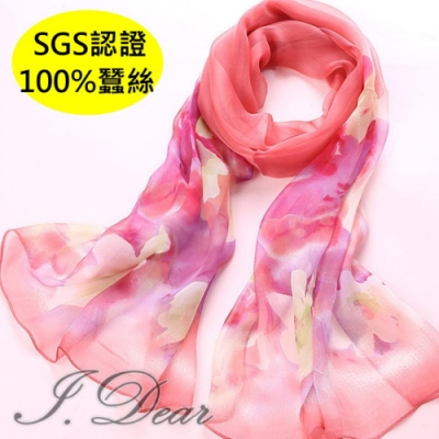I.Dear-100%蠶絲頂級印花真絲披肩/圍巾(歲月凝香紅)