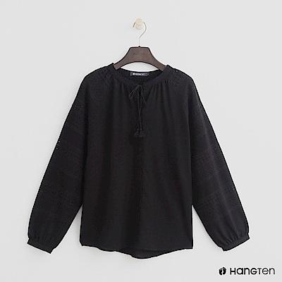 Hang Ten - 女裝 -氣質綁結造型上衣 - 黑