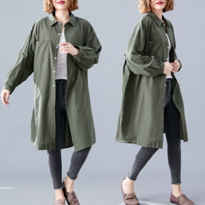 La Belleza素面單口袋長版開釦襯衫寬鬆外套罩衫