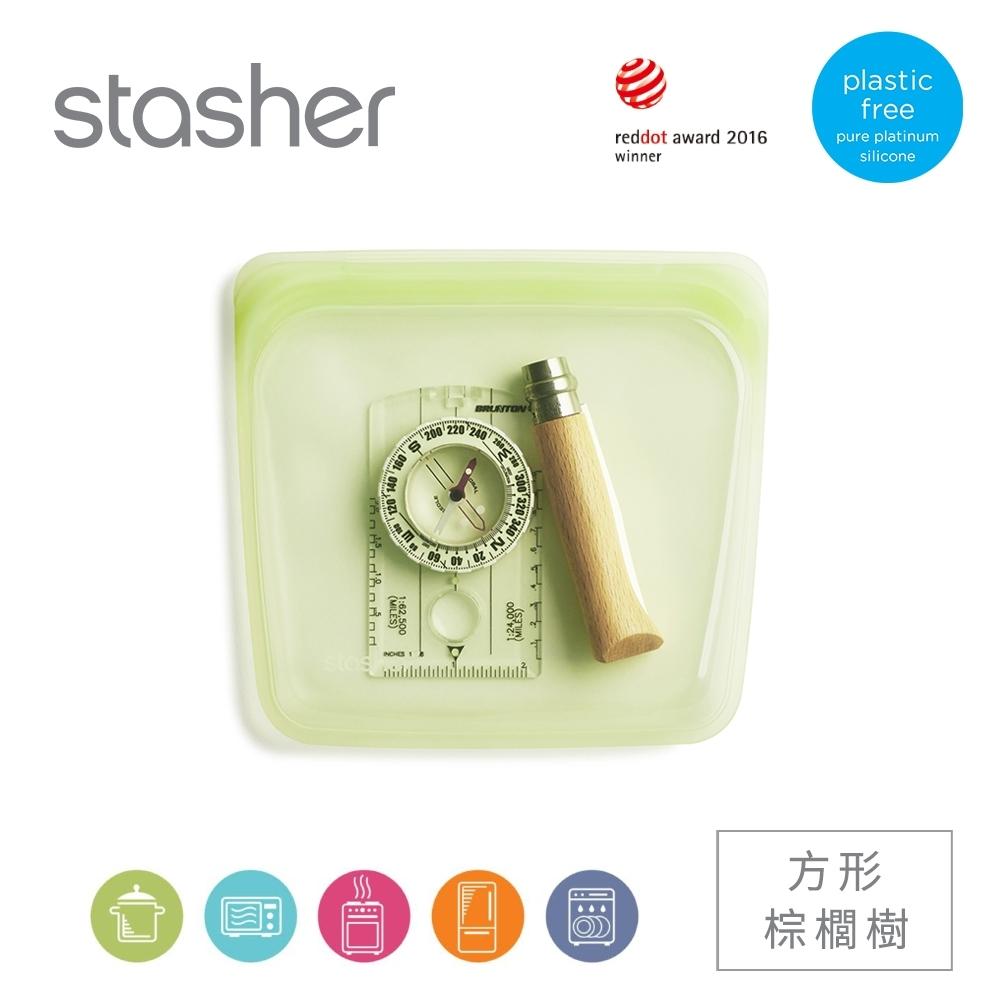 美國Stasher 方形白金矽膠密封袋-棕櫚樹