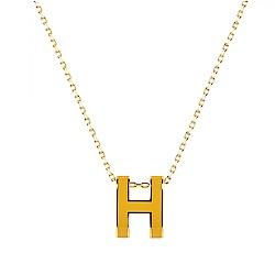 HERMES愛馬仕POP經典H字母立體簍空橢圓LOGO鎖骨項鍊(黃x金)