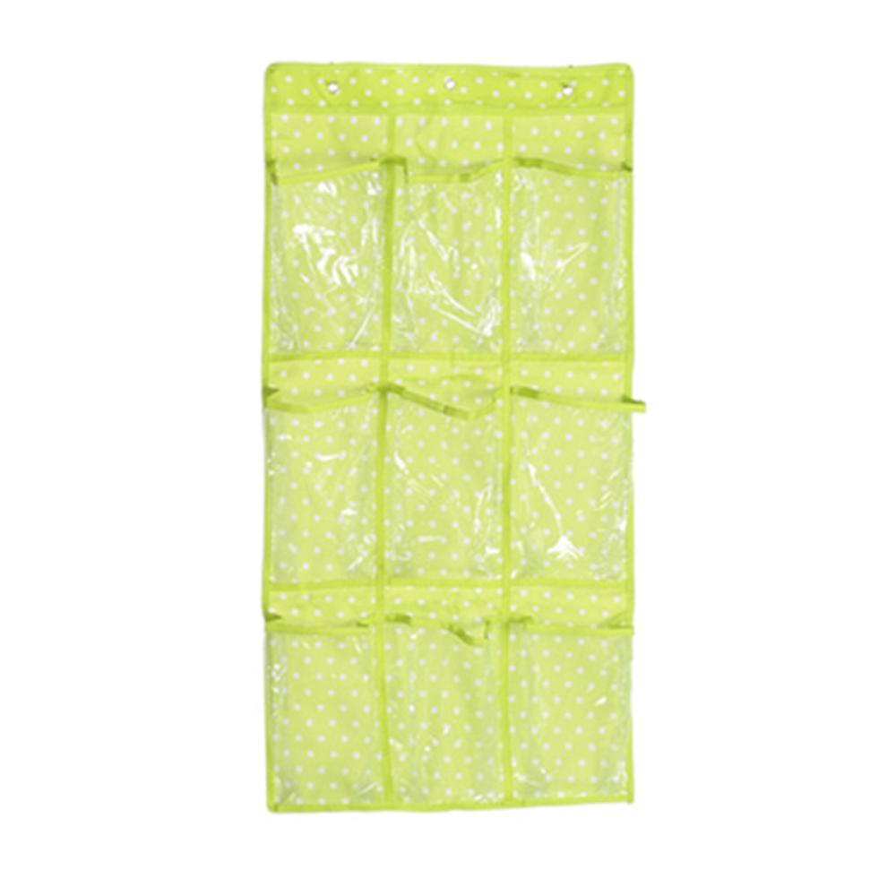 iSFun 牛津點點 內衣透視收納9格掛袋 綠84x42cm