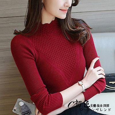 純色貼身半高領針織毛衣-共6色(F可選)   初色