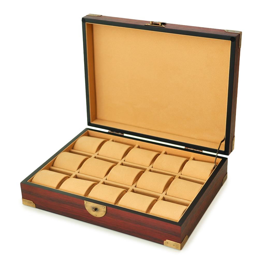 WISH 復古風 實木手錶收藏盒/收納盒‧15只裝(紅棕色)