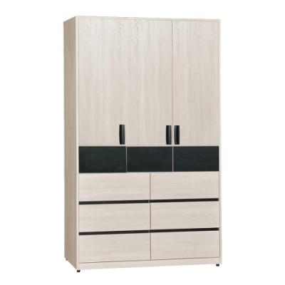 文創集 安賽芙現代4尺三門六抽衣櫃/收納櫃-118.5x60x197cm免組