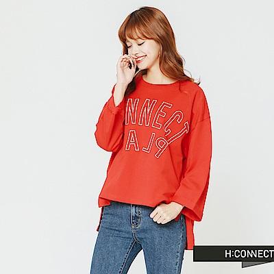 H:CONNECT 韓國品牌 女裝-簡約印字寬版上衣-紅