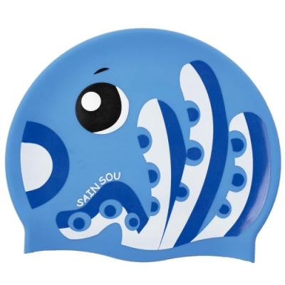 聖手牌 兒童泳帽 章魚造型矽膠泳帽(水藍)