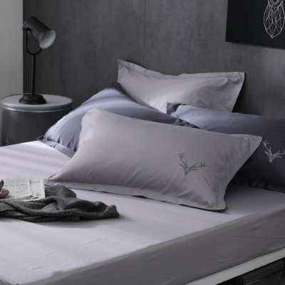 OLIVIA  Saul 淺灰 特大雙人床包歐式枕套三件組 300織匹馬棉系列 台灣製