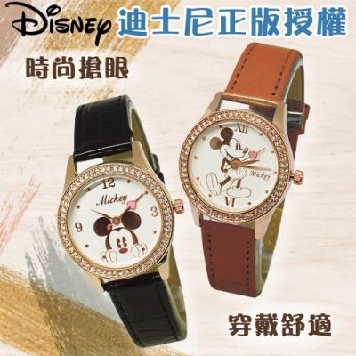 DF 童趣館 - 迪士尼玫瑰金水晶鑽時尚皮帶錶