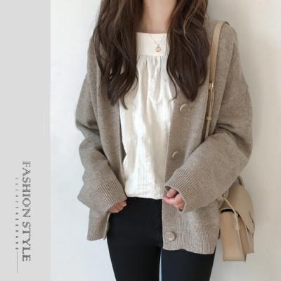 2F韓衣-簡約素面排扣外套-3色(F)