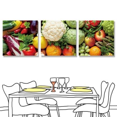 【24mama 掛畫】三聯式 新鮮 營養 健康 有機食物 無框畫-30x30cm(蔬菜和水果)