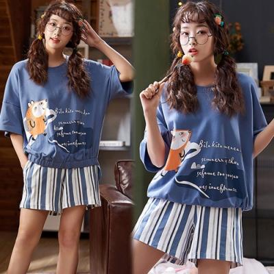 【韓國K.W.】(預購)海軍印花條紋套裝褲-1色
