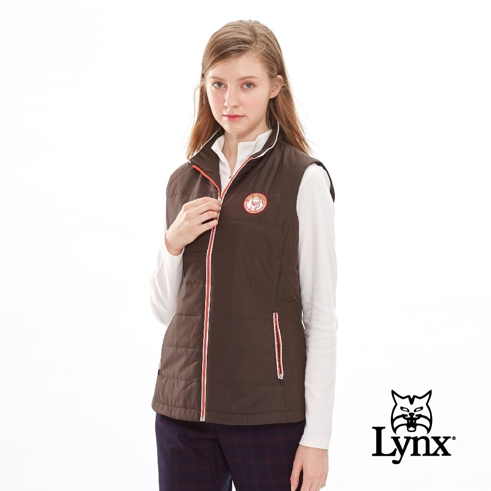 【Lynx Golf】女款拉鍊配色立領鋪棉貓咪繡標無袖背心-深咖啡色