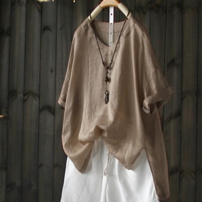 寬鬆V領天絲亞麻T恤七分袖罩衫上衣-設計所在