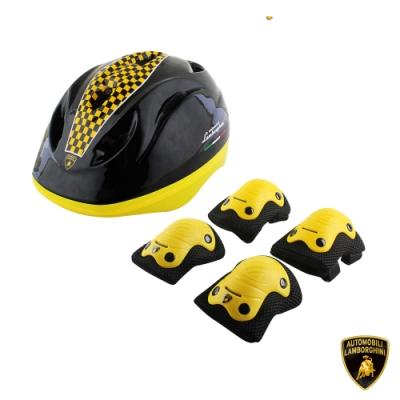 【Lamborghini藍寶堅尼】全台獨家 兒童運動護具 (安全帽+手肘+膝蓋) 兒童護具