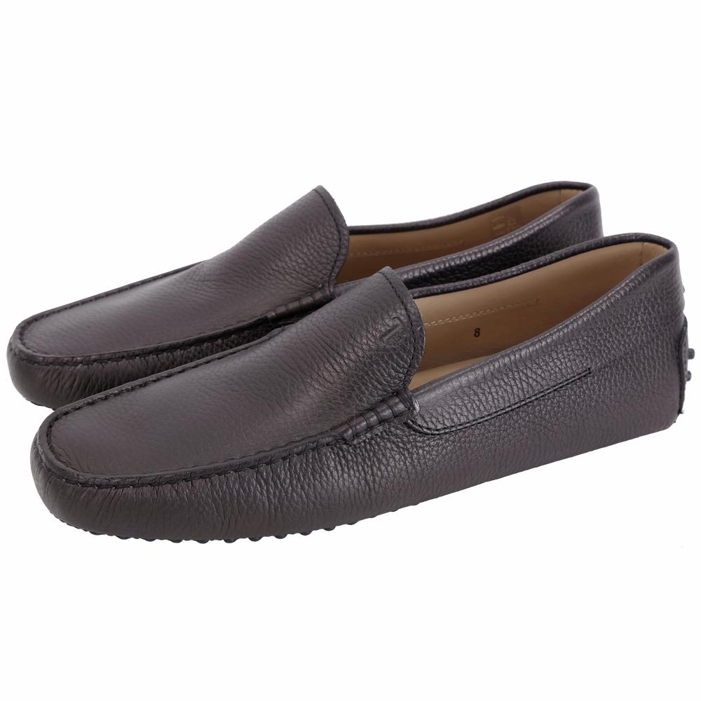 TOD'S Gommino 素面荔紋牛皮豆豆休閒鞋(男鞋/黑夜藍)