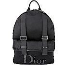 Dior Homme 雙釦帶網格口袋尼龍後背包(黑色)