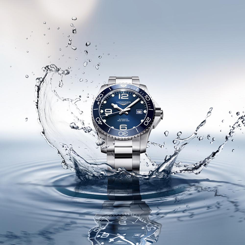 LONGINES 浪琴 深海征服者浪鬼陶瓷潛水機械錶-藍x銀/41mm