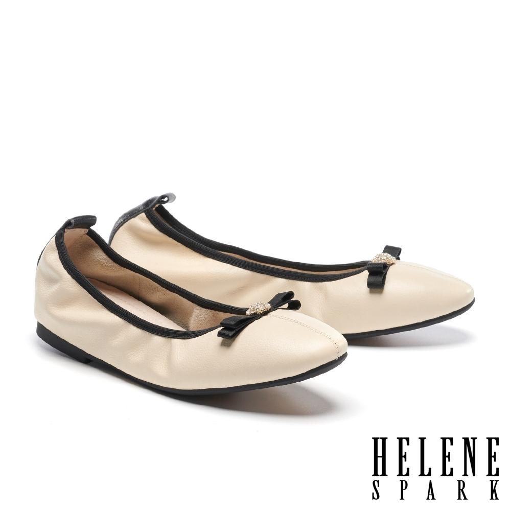 平底鞋 HELENE SPARK 素雅氣質蝴蝶結牛皮娃娃鞋平底-米
