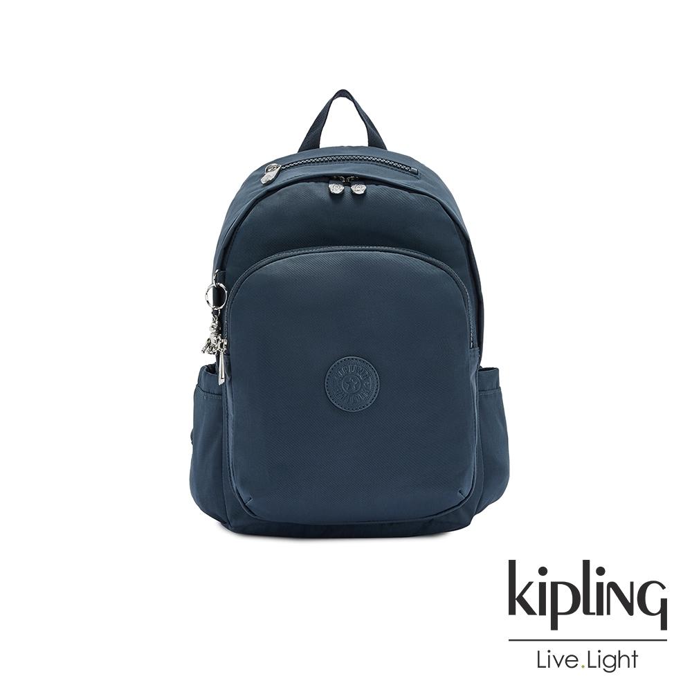 Kipling 知性優雅藍上方拉鍊後背包-DELIA