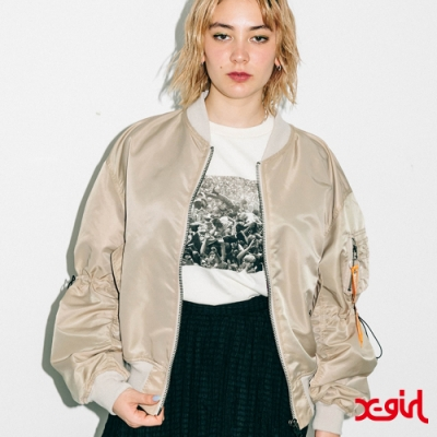 X-girl CROPPED L2B JACKET飛行外套-米色