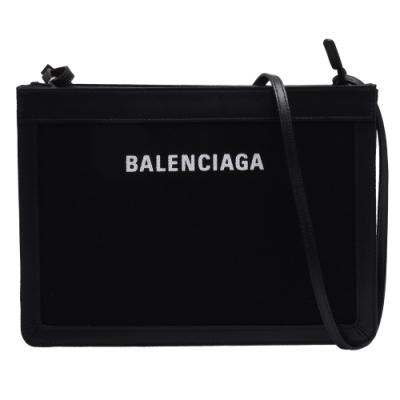BALENCIAGA 經典NAVY系列帆布結合牛皮飾邊手拿/斜背包(黑)