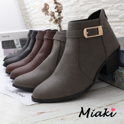 Miaki-短靴-MIT 潮流尖頭粗跟機車靴