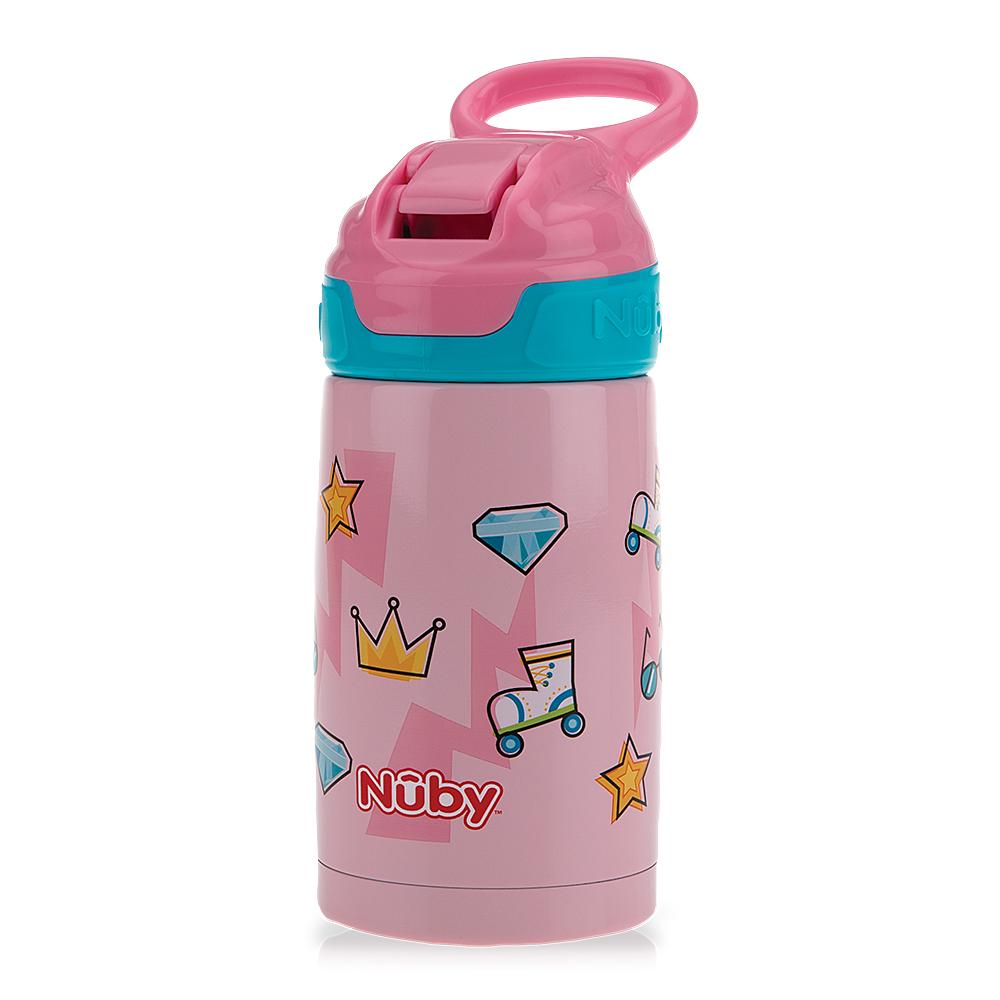 Nuby不鏽鋼真空隨行杯-粉紅派對_300ml(18M+)