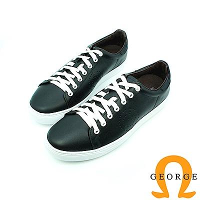 【GEORGE 喬治】休憩系列-經典綁帶平底休閒鞋_黑色