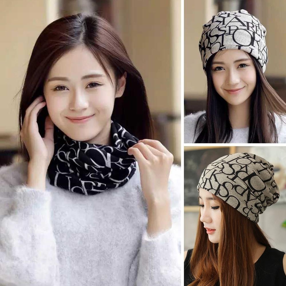 幸福揚邑 造型頭巾套頭帽防塵口罩面罩保暖圍脖圍巾-英文款-三色可選