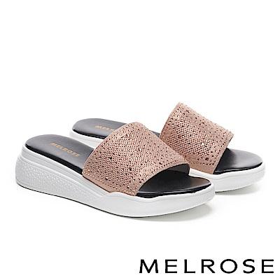 拖鞋 MELROSE 閃耀晶鑽奢華休閒厚底拖鞋-米