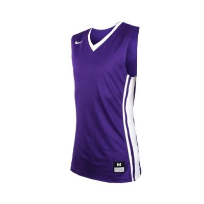 NIKE 男V領籃球針織背心-無袖背心 運動背心 球衣 紫白