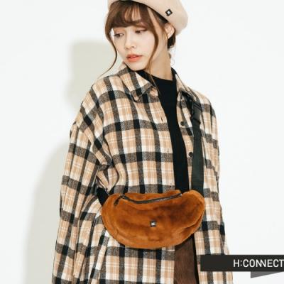 H:CONNECT 韓國品牌 配件 - 溫暖絨毛腰包-棕