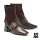 短靴 AS 復古時髦異材質拼接金屬大釦羊皮方頭高跟短靴-咖 product thumbnail 1