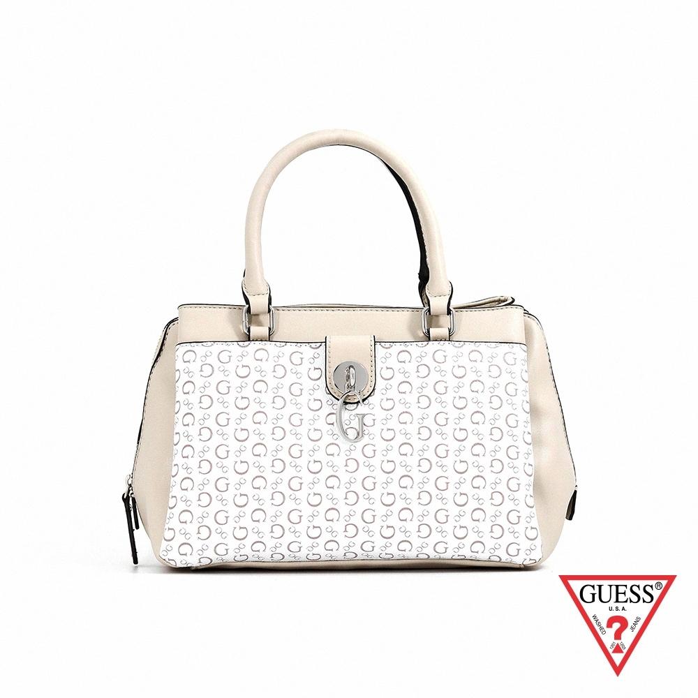 GUESS-女包-復古滿版LOGO印花肩背手提包-米白 原價3490