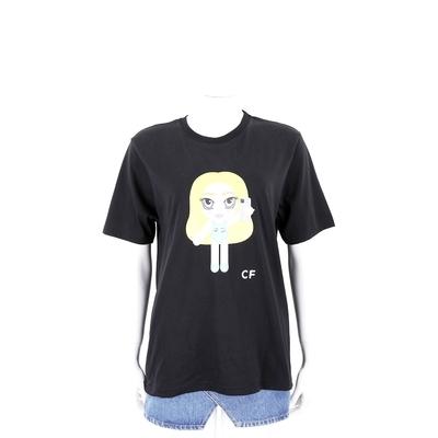 Chiara Ferragni @cfmascotte IG 泳裝女孩黑色短袖棉質TEE T恤