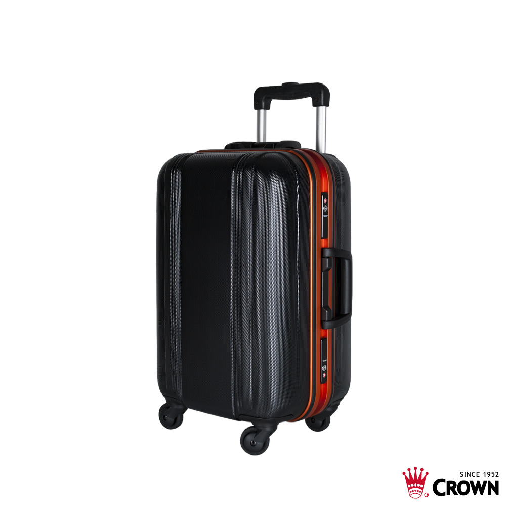 CROWN 皇冠 19吋鋁框箱 彩色鋁框拉桿箱 行李箱 黑色桔框