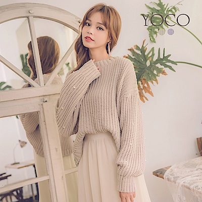 東京著衣-yoco 微糖甜心綴珍珠暖暖針織毛衣-S.M.L(共二色)