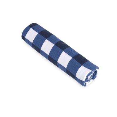 美國aden+anais  輕柔新生兒包巾(1入)-藍色方塊系列WL8901