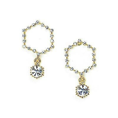 LOVERS TEMPO加拿大品牌 暮光六角造型鑲嵌水晶 耳環