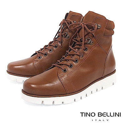 Tino Bellini巴西進口戶外休閒牛皮輕量綁帶短靴_棕