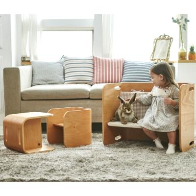 [日本HOPPL]ColoColo翻轉兒童成長桌椅組-天然原木