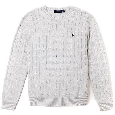 Polo Ralph Lauren 經典刺繡小馬圓領麻花針織毛衣-淺灰色