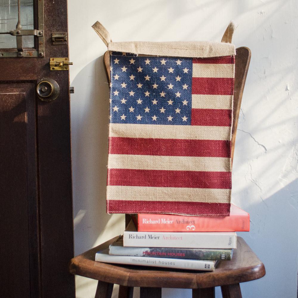 【收納職人】美式復古LOFT工業風美國國旗附蓋黃麻收納整理籃/儲物盒 (美國風)