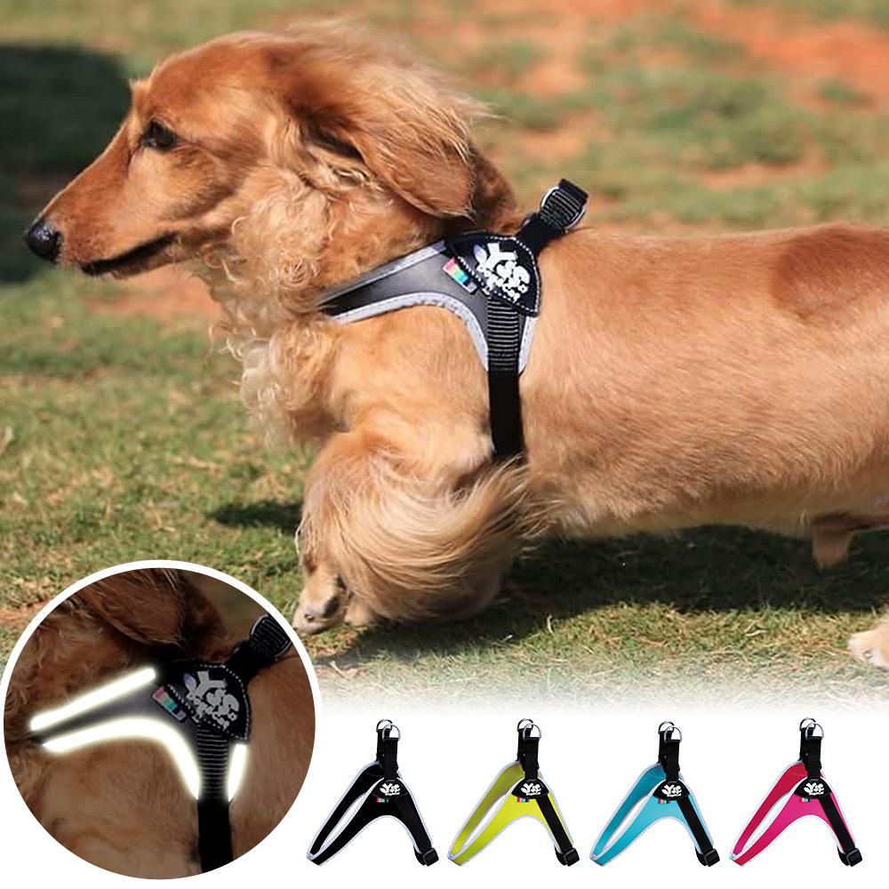 YSS 寵物PU綿防水耐用3D反光Y型一秒穿胸背帶M(4色)