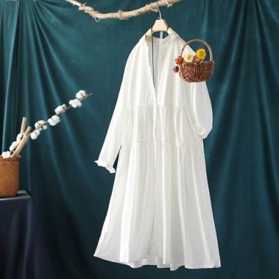 顯瘦純棉寬鬆顯瘦中長版襯衫洋裝-設計所在