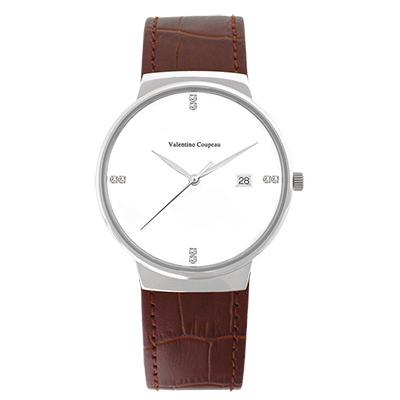 Valentino Coupeau 范倫鐵諾 古柏 時尚極簡設計腕錶【銀色/咖皮/白珠】