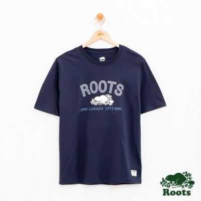 男裝Roots 原創庫柏短袖T恤-藍