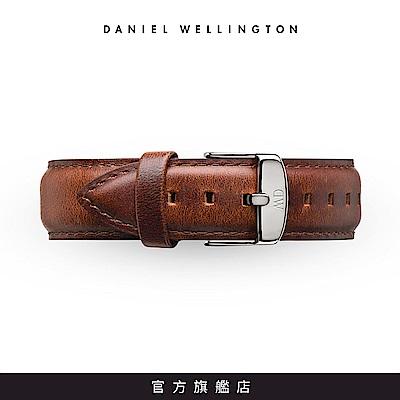DW 錶帶 20mm銀扣 紅棕真皮皮革錶帶